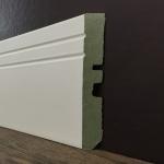 Rodapé MDF Ultra PET 02 frisos 14cm Branco 140x15x2400mm (PRONTA ENTREGA)